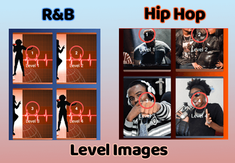 RnB and Hip Hop Quiz App Level Images