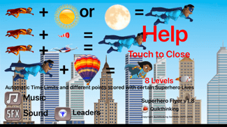 Superhero Flyer Help Screen